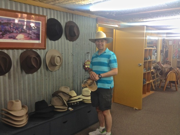 RMW Shop - Stephen trying on a Bob Katter hat. Akubra's are still Australian made!