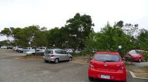 The rather large, and quite full carpark at Maggie Beer's Farm