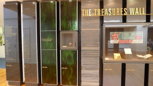 The Treasures Wall Black granite, coal, green glass (wine), slate, steel car duco (not for much longer)