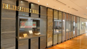 Treasures Wall - slate, steel car duco, bluestone, green granite, grape vines, iron ore, cattle hide, copper, lead, zinc, silver...