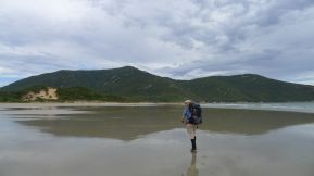 It's easy walking along the flat wet sand of Oberon Beach