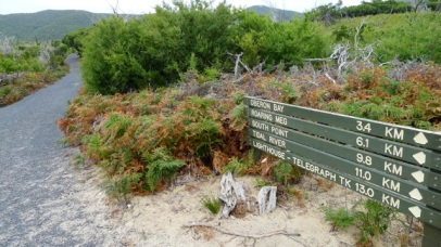 Sign 'A' next to Oberon Bay Walking Track, showing view south along Telegraph Track