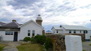 The main entrance of the Lighthouse Keepers Cottage (left) and the Parks Victoria Keepers cottage (right)