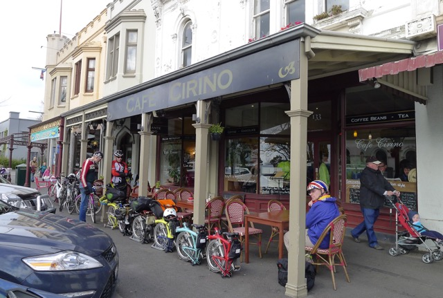 Bromptons are just so neat! Cafe Cirino was a good place to stop for brunch - Melbourne Brompton Club & Go Cycling Melbourne